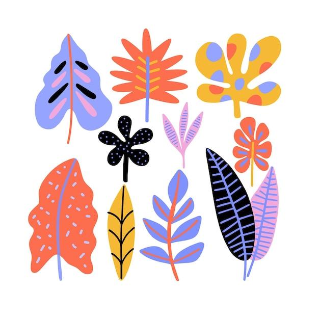 Коллекция абстрактных тропических листьев Бесплатные векторы