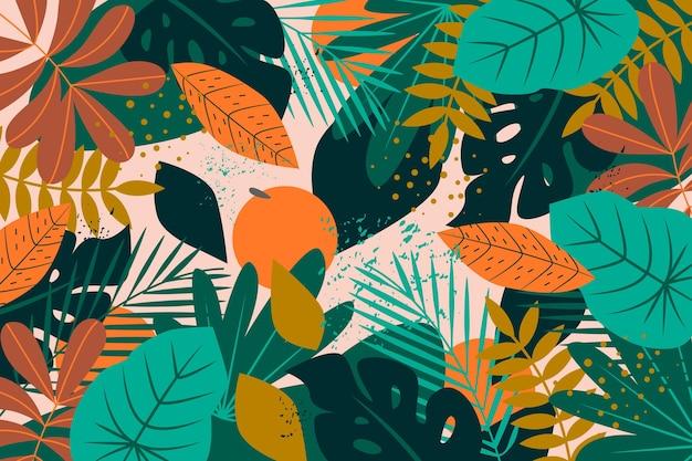 抽象的な熱帯の葉のデザイン 無料ベクター