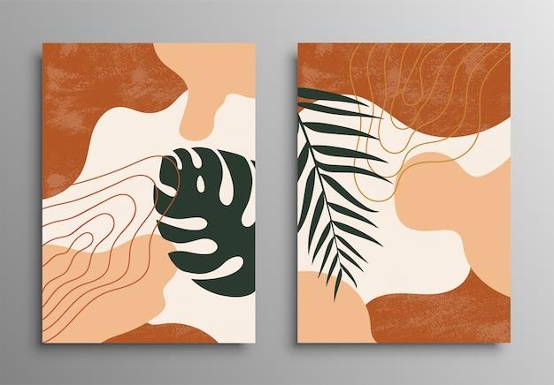 추상 열 대 잎 포스터 커버. 추상적 인 배경입니다. 열대 꽃 패션 패턴. 팜, 이국적인 잎. 스톡 . 프리미엄 벡터
