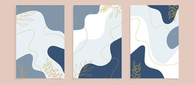 Обложки плаката абстрактные тропические листья Premium векторы