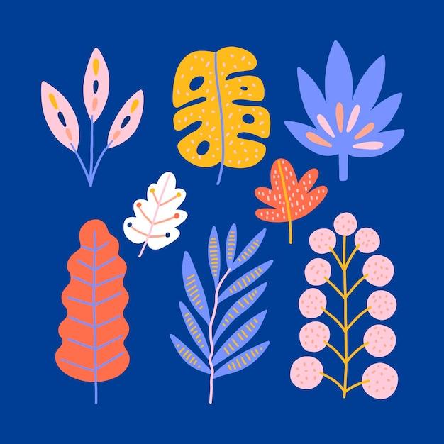 抽象的な熱帯の葉セット 無料ベクター