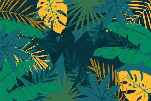 초록 열 대 잎 테마 무료 벡터