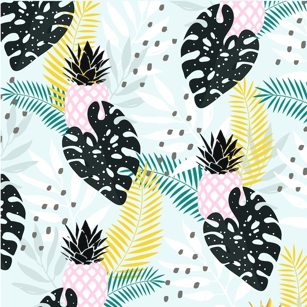 Abstract tropical leaves with pineapple background Premium Vector