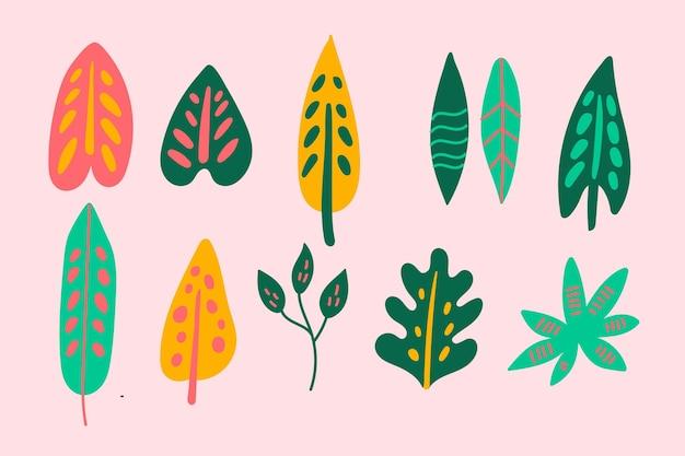 Абстрактные тропические листья Бесплатные векторы