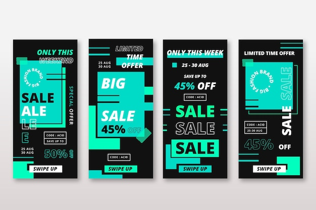 Abstract turquoise acid colours instagram sale stories Free Vector