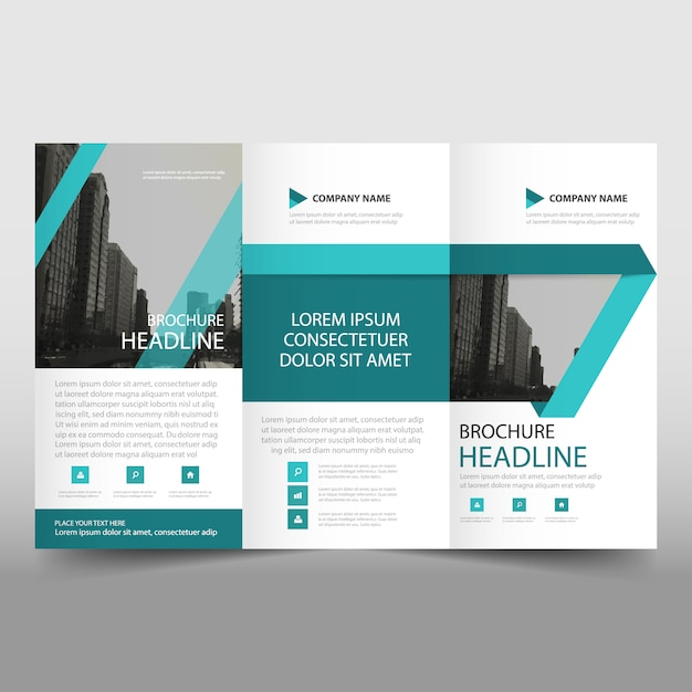 Abstract Turquoise Trifold Business Brochure Template Vector - Mini brochure template