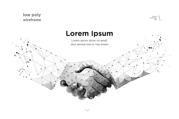 抽象的な2つの手握手 Premiumベクター