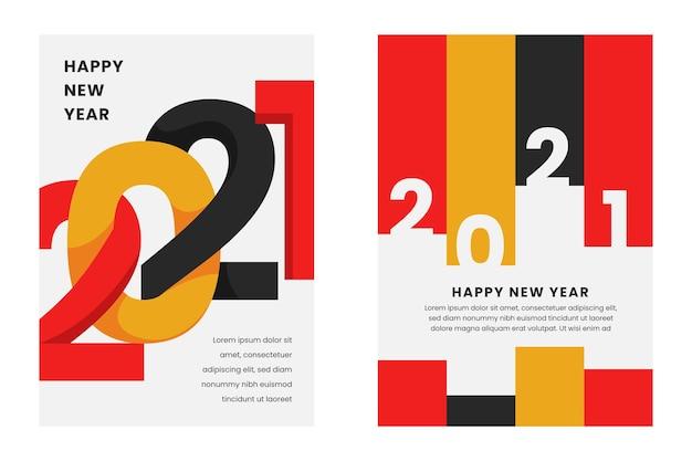 Абстрактный типографский шаблон флаера вечеринки новый год 2021 Бесплатные векторы