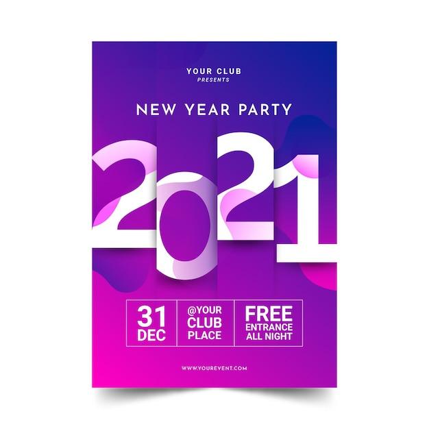 Абстрактный типографский шаблон плаката вечеринки новый год 2021 Бесплатные векторы