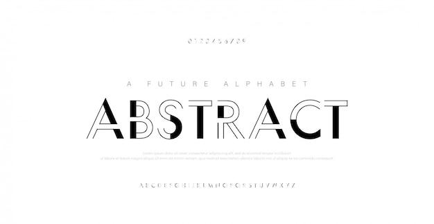 Abstract urban thin line font alphabet. Premium Vector