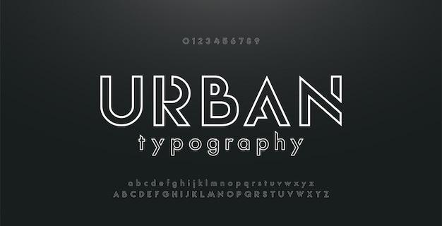 Abstract urban thin line neon font modern alphabet Premium Vector