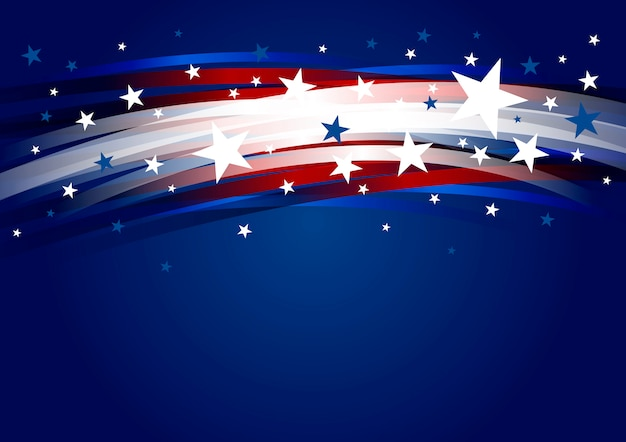 Abstract usa background design of line gradient and star 4th of july independence day Premium Vector
