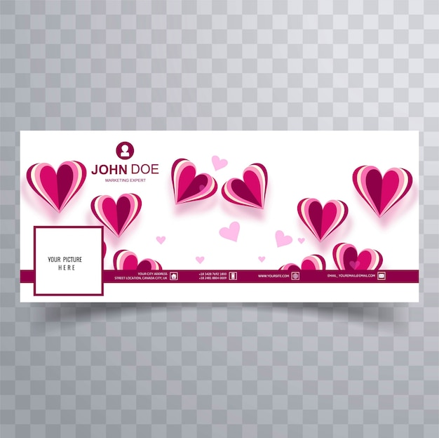 Abstract Valentine S Day Facebook Cover Design Illustration Vector