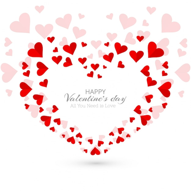 Abstract Valentine S Day Hearts Decorative Background Vector Free