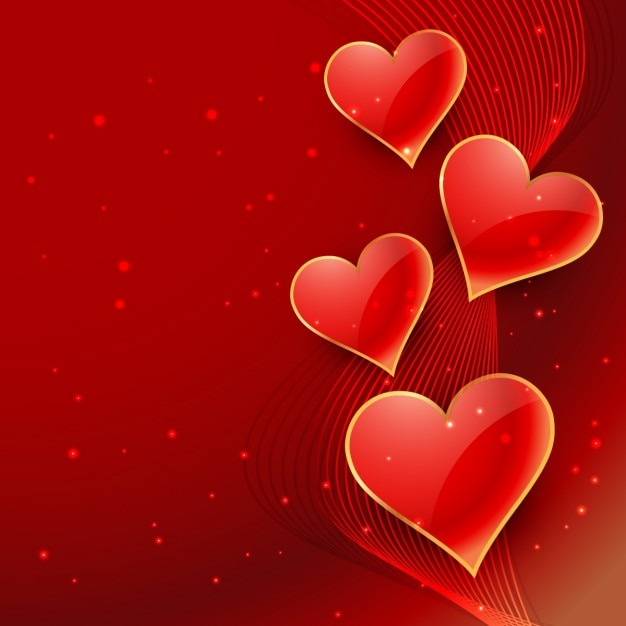 abstract valentines background with hearts vector free