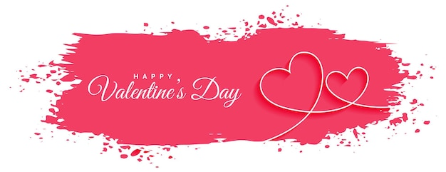 抽象的なバレンタインデーラインハートバナー 無料ベクター