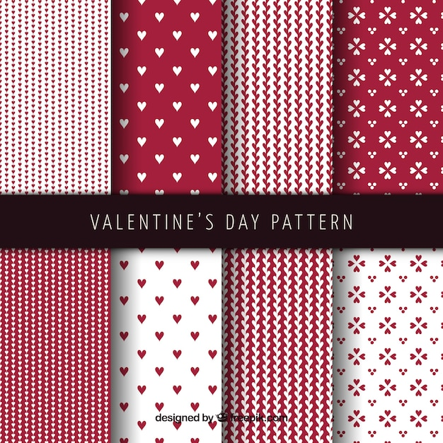 Abstract valentines day pattern set Free Vector