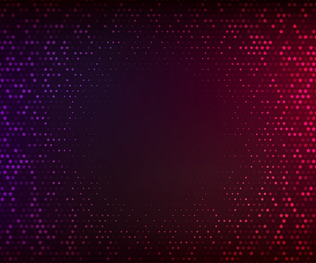 Abstract vector background. glowing mosaic of stars on the dark purple-red background. halftone effect Premium Vector