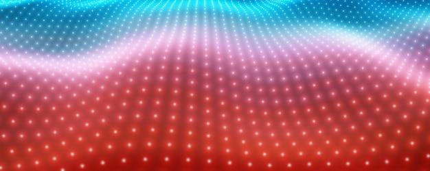 Sfondo astratto vettoriale con luci al neon colorate che formano superficie ondulata. flusso di superficie cyber al neon. cyber rilievo colorato liscio da particelle luminose. Vettore gratuito