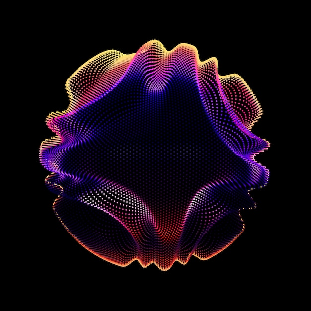 Abstract vector colorful mesh sphere on dark background. corrupted point sphere. chaos aesthetics. Free Vector