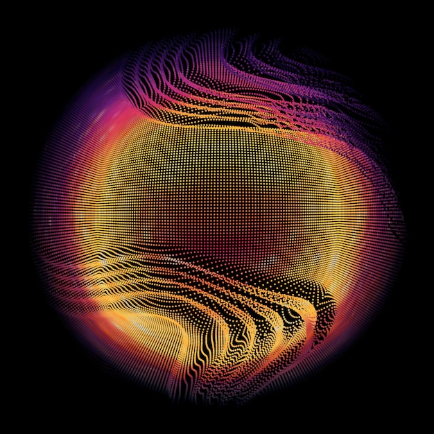 Abstract vector colorful mesh sphere on dark background. futuristic style card. Free Vector