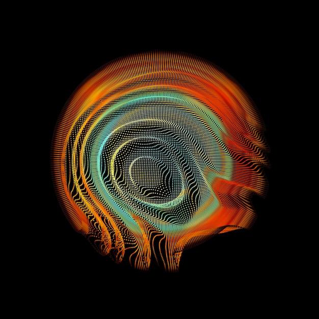 Сфера сетки абстрактного вектора красочная на темноте. Бесплатные векторы