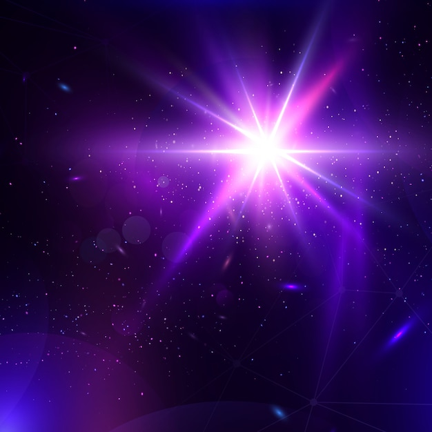 Abstract vector glowing background. lens flare fantastic design. Premium Vector