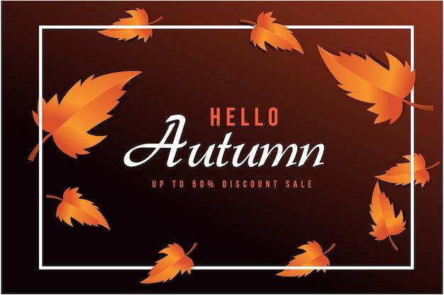 Абстрактная векторная иллюстрация осенняя распродажа фон с осенними листьями для покупок Premium векторы