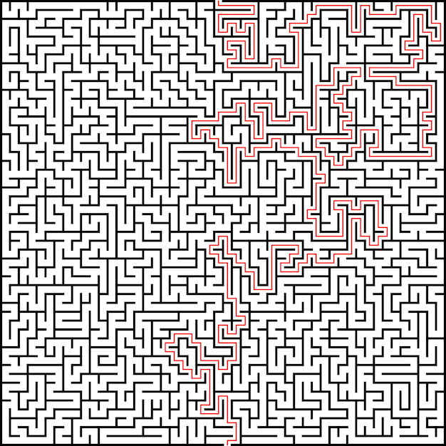 Abstract vector maze of high complexity with solution Premium Vector