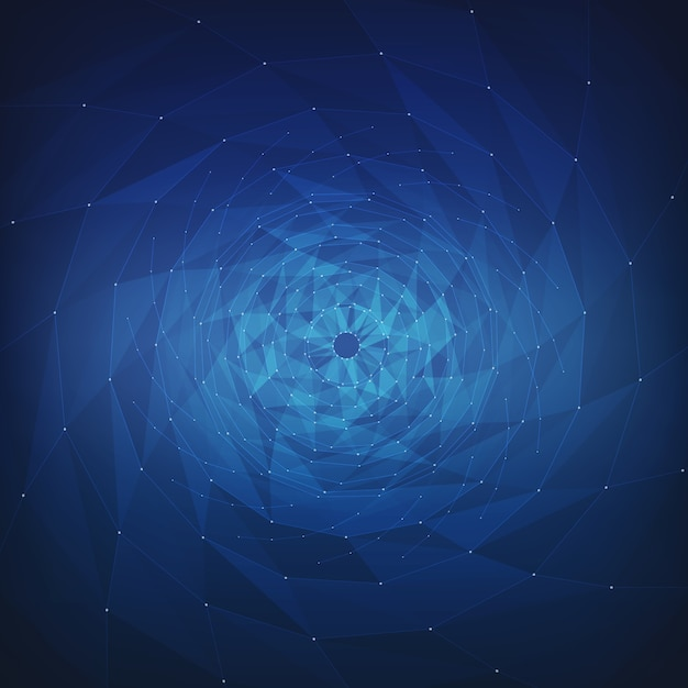 Abstract vector mesh background. chaotically connected points and polygons flying in space. flying debris. futuristic technology style card. lines, points, circles and planes. futuristic design. Free Vector