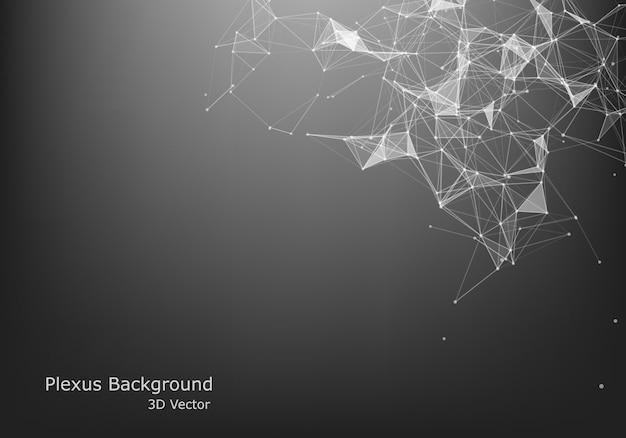 抽象的なベクトルの粒子と線。神経叢効果。未来的なイラスト。多角形のサイバー構造。データ接続の概念。 Premiumベクター