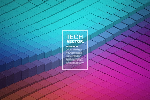 Abstract vector technological waveform colorful bright background. Premium Vector