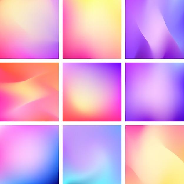 Abstract vector trendy gradient backgrounds set. Premium Vector