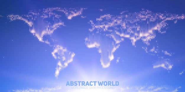 Mappa del mondo vettoriale astratta costruita con punti luminosi. continenti con un bagliore sul fondo. astrazione della mappa digitale nei colori blu chiaro. continenti digitali. rete globale di informazioni. Vettore gratuito