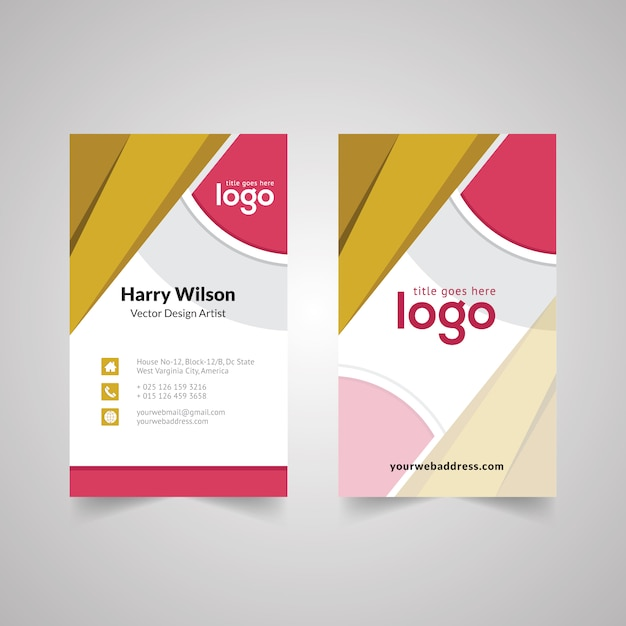 Abstract vertical business card design with geometric shape vector abstract vertical business card design with geometric shape premium vector reheart Gallery