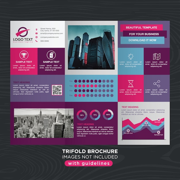 abstract vibrant colorful design trifold brochure layout vector