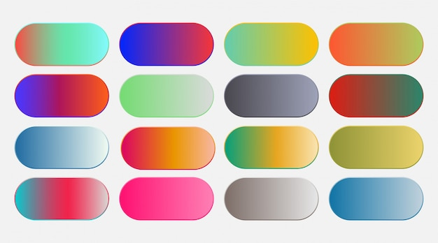 Abstract vibrant colorful gradient swatches set Free Vector