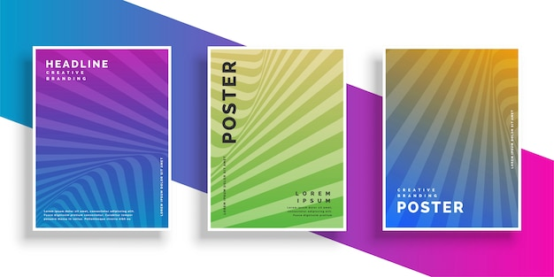 Abstract vibrant line rays flyer brochure design set Free Vector