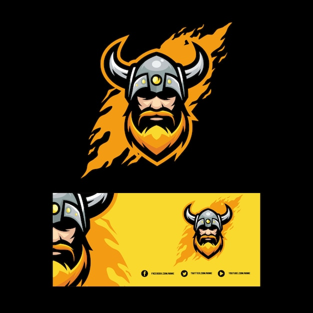 Abstract viking illustration vector design template Premium Vector