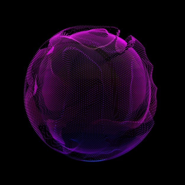 Abstract violet colorful mesh sphere dark background. Free Vector