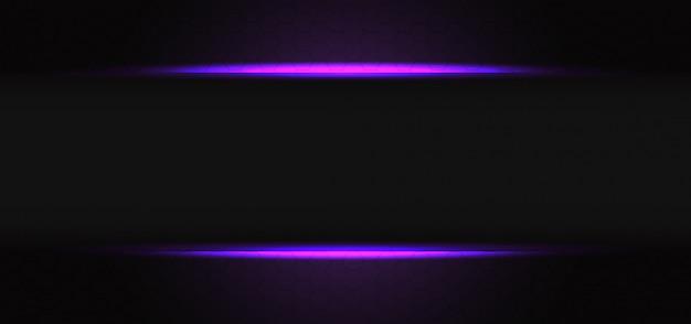 Абстрактная фиолетовая светлая линия серая тень пустой баннер на темном шестиугольнике сетка дизайн современный футуристический фон. Premium векторы