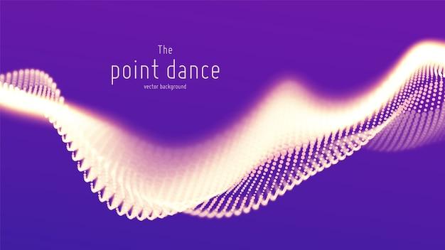 抽象的な紫色の粒子波、ポイント配列、浅い被写界深度。未来のイラスト。テクノロジーのデジタルスプラッシュまたはデータポイントの爆発。 無料ベクター