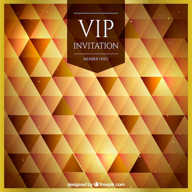 Abstract vip background with golden triangles