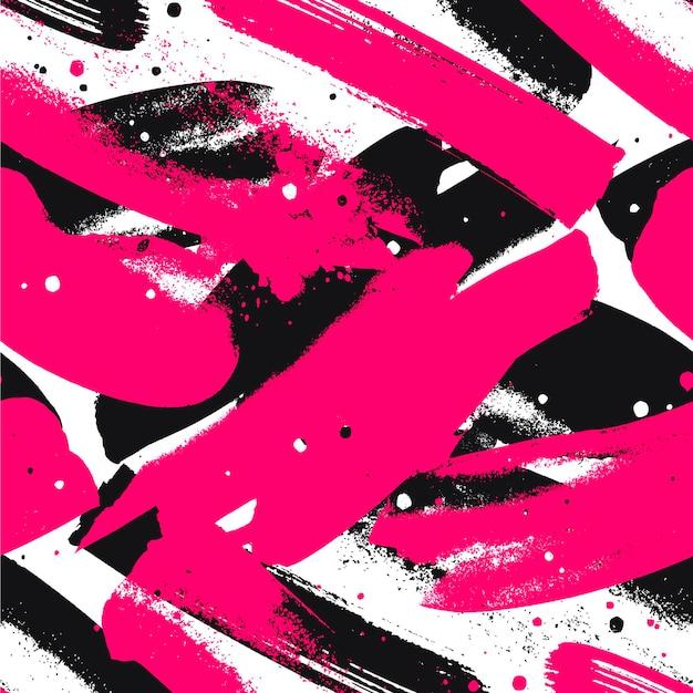 抽象的な鮮やかなピンクと黒のペイントストロークパターン Premiumベクター