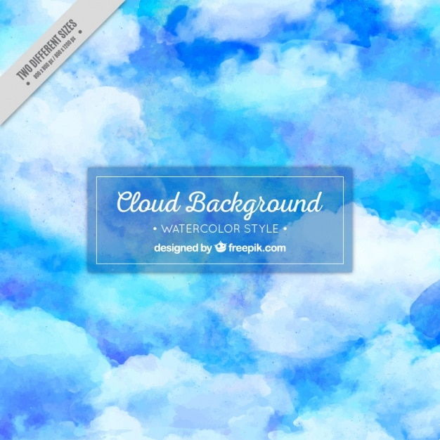 Abstract watercolor background of blue sky with\ clouds