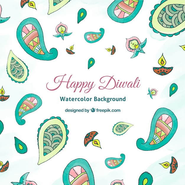 Abstract watercolor background of happy diwali