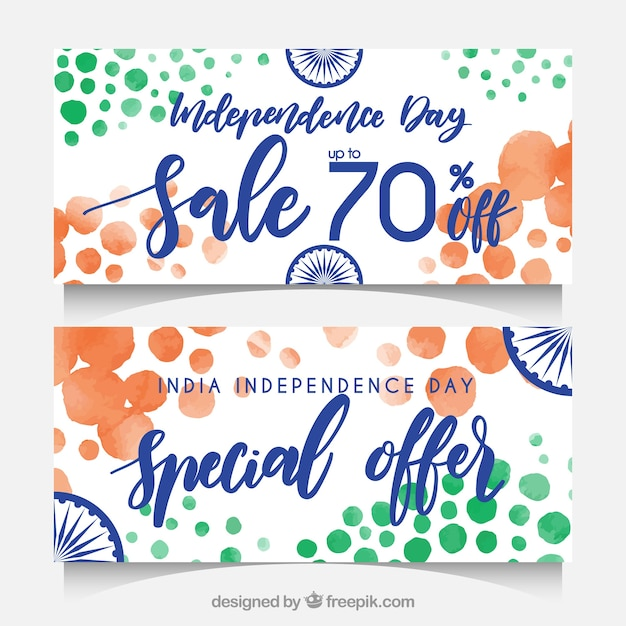 Abstract watercolor banners with india independence day sales