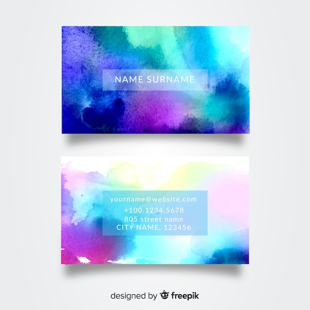 Abstract watercolor business card template Free Vector