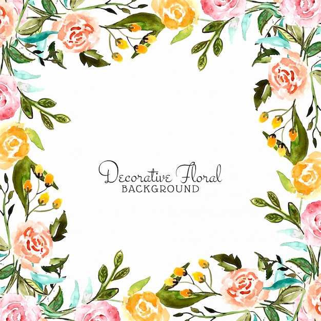 Abstract watercolor flower decorative frame Free Vector