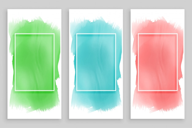Abstract watercolor frame banners set Free Vector